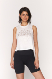 Spiritual Gangster  Seeing Eye Crop Swing Tank with gold metallic foil graphic - Front cropped