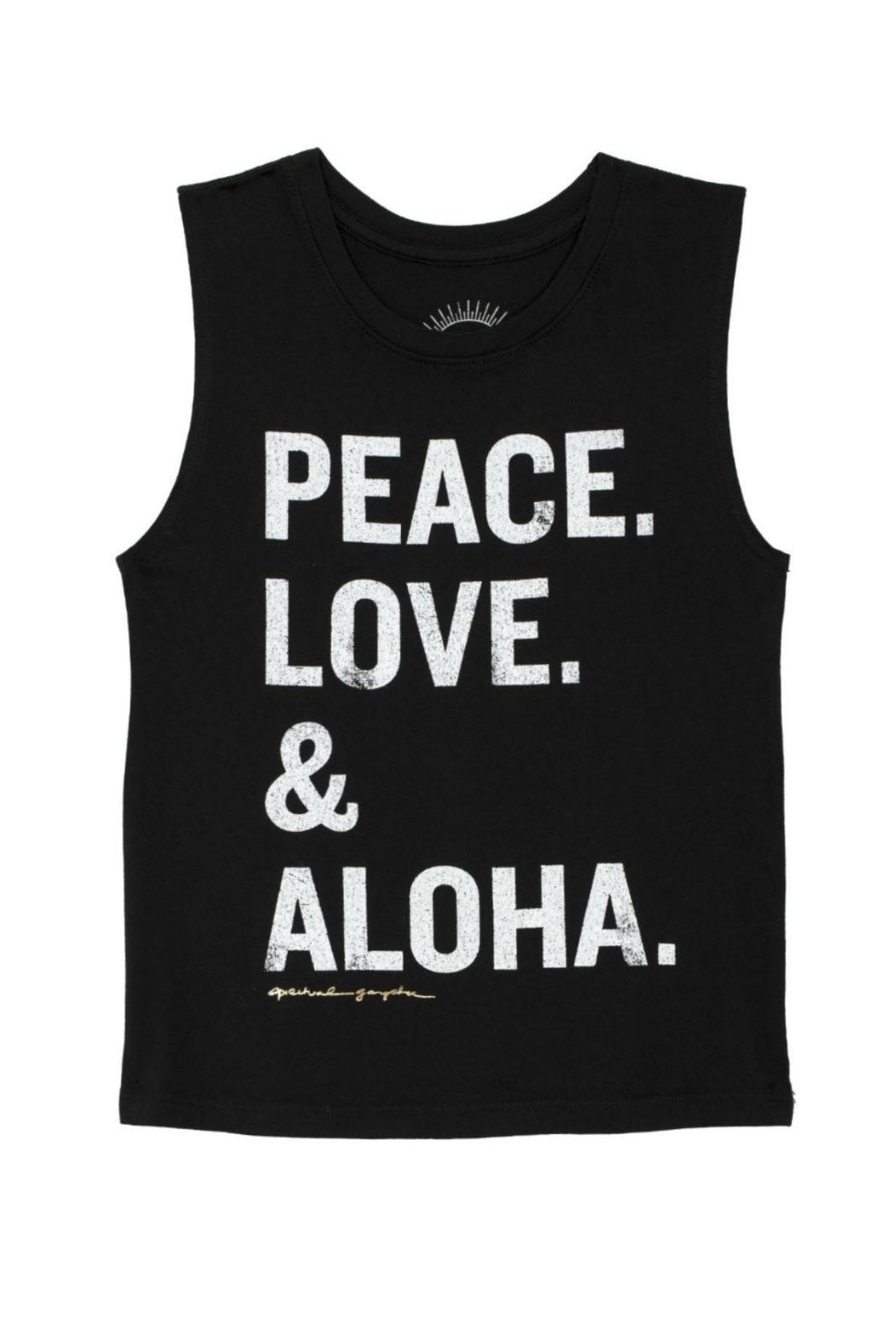 SPIRITUAL GANGSTER Peace Love Aloha Tee - Front Cropped Image