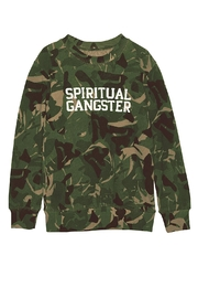 SPIRITUAL GANGSTER Varsity Camo Crew - Front cropped