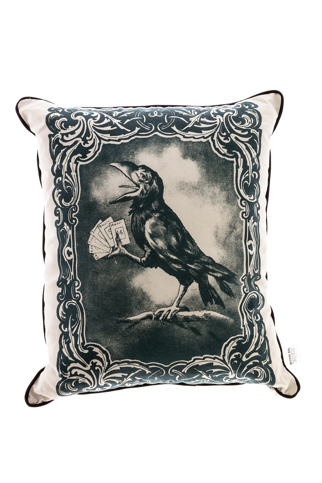 Spitfire Girl Crow Print Pillow - Main Image