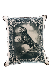 Spitfire Girl Crow Print Pillow - Front cropped