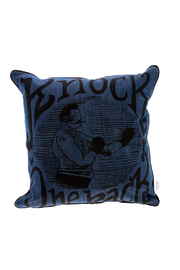 Spitfire Girl Blue Boxing Print Pillow - Front cropped