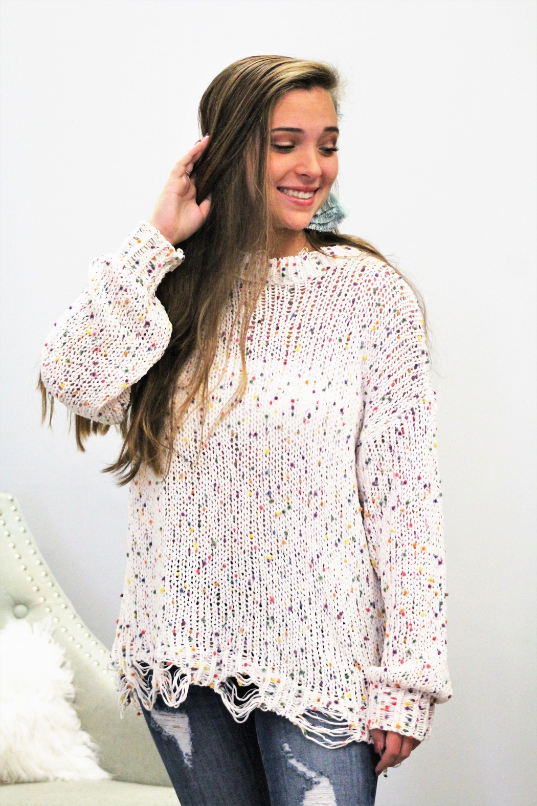 143 Story Splash of Color Confetti Sweater - Front Full Image