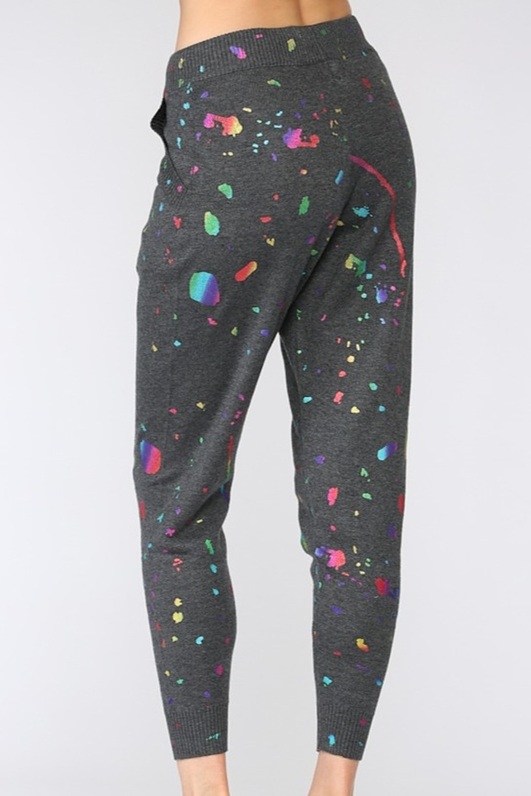 Fate Splatter Paint Knit Joggers - Side Cropped Image