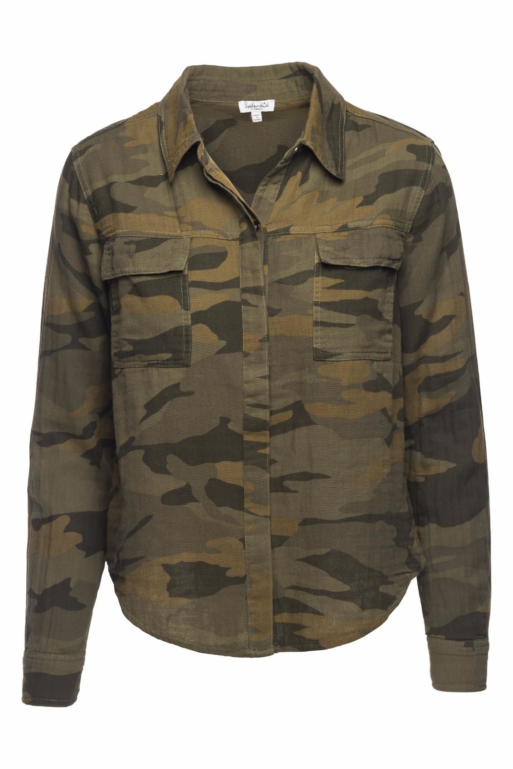 Splendid Camo Double Pocket Shirt - Front Cropped Image