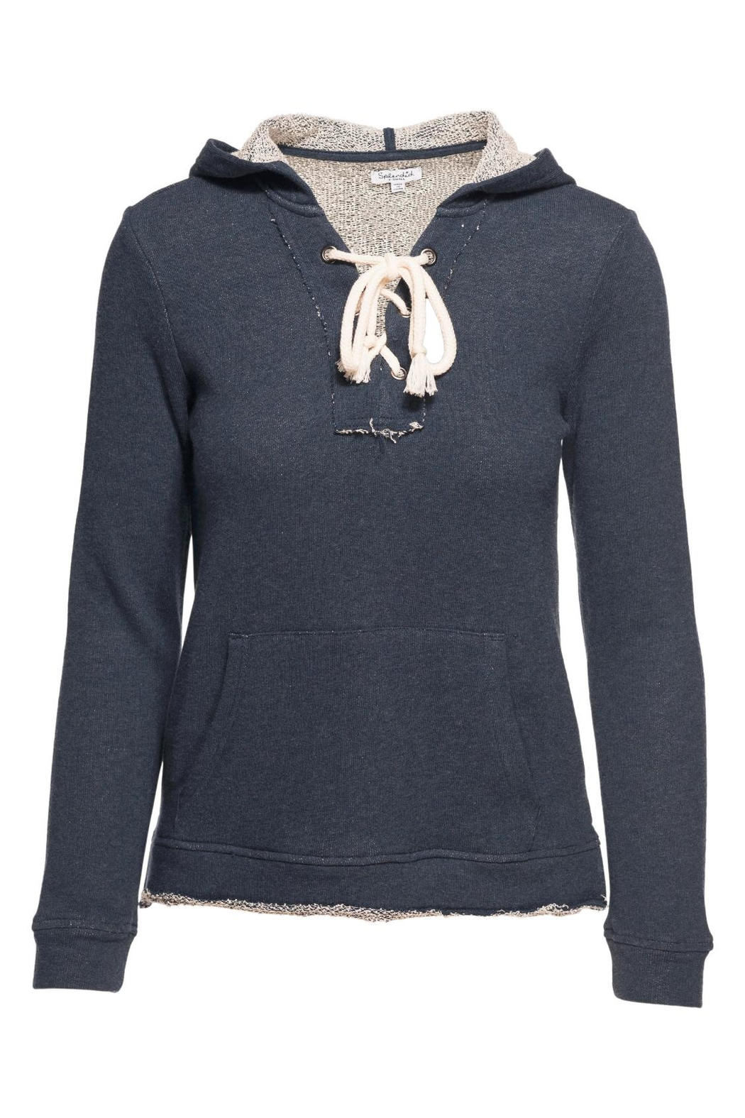Splendid Lace Up Hoodie Sweater - Main Image