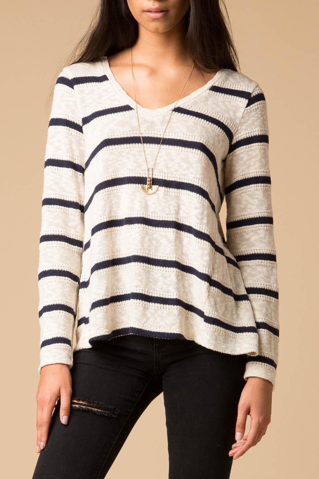 Splendid Striped Fly Back Sweater - Front Cropped Image