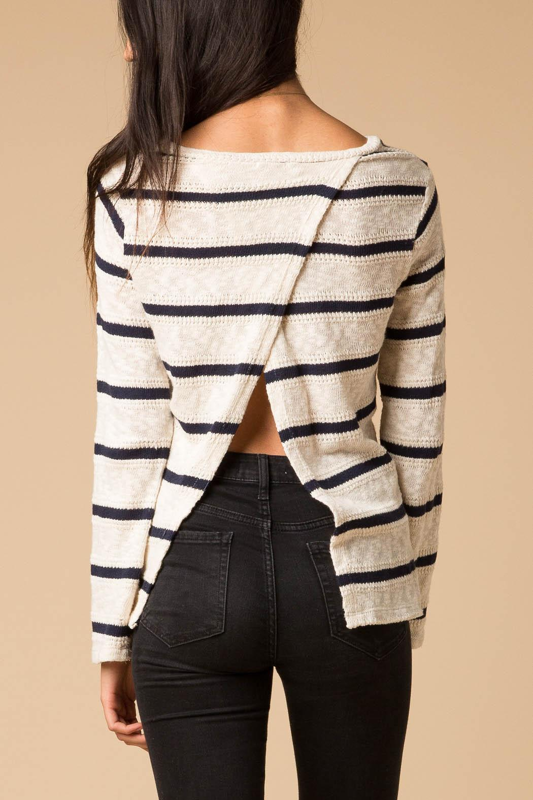 Splendid Striped Fly Back Sweater - Side Cropped Image
