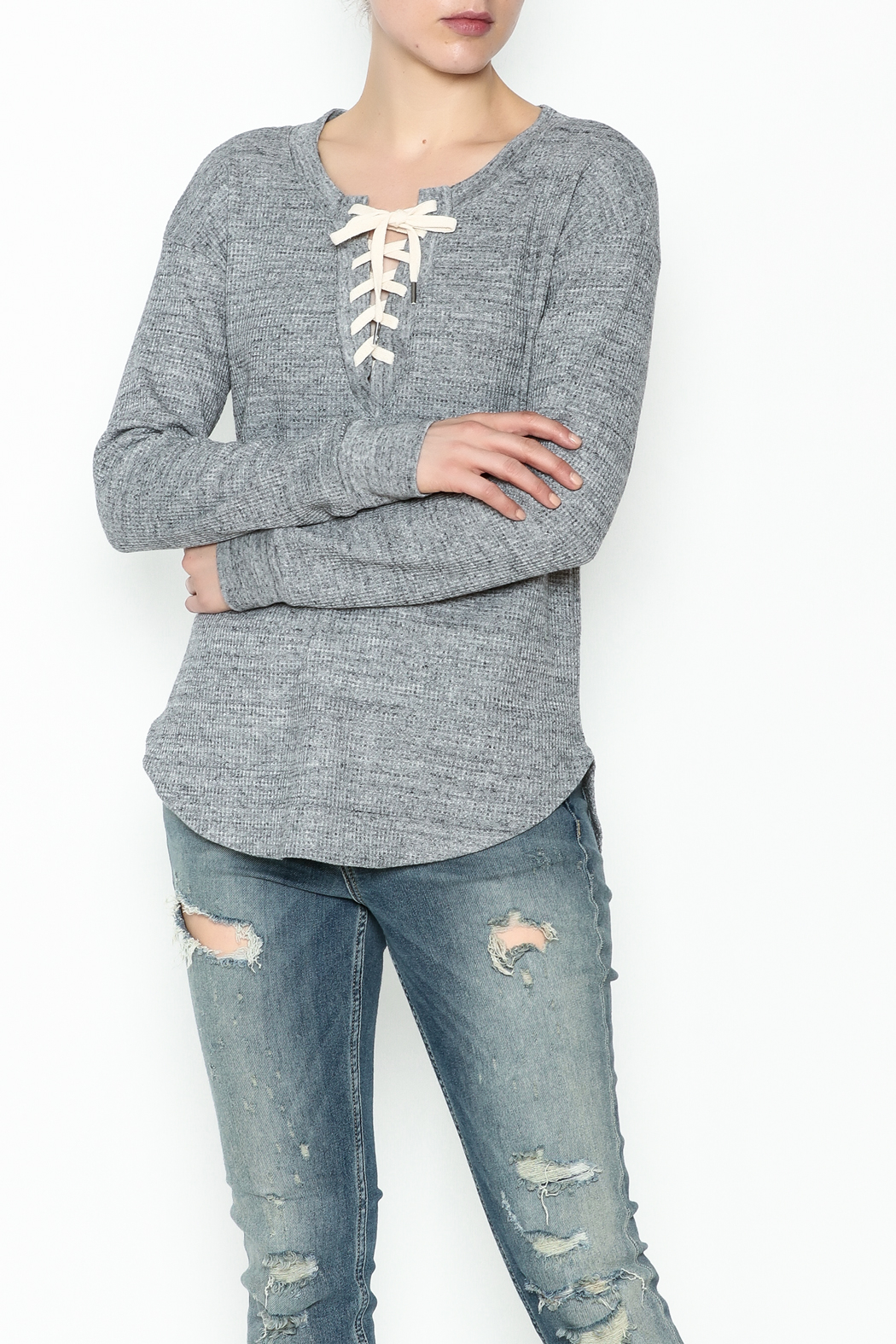 Splendid Thermal Lace Up Top - Main Image