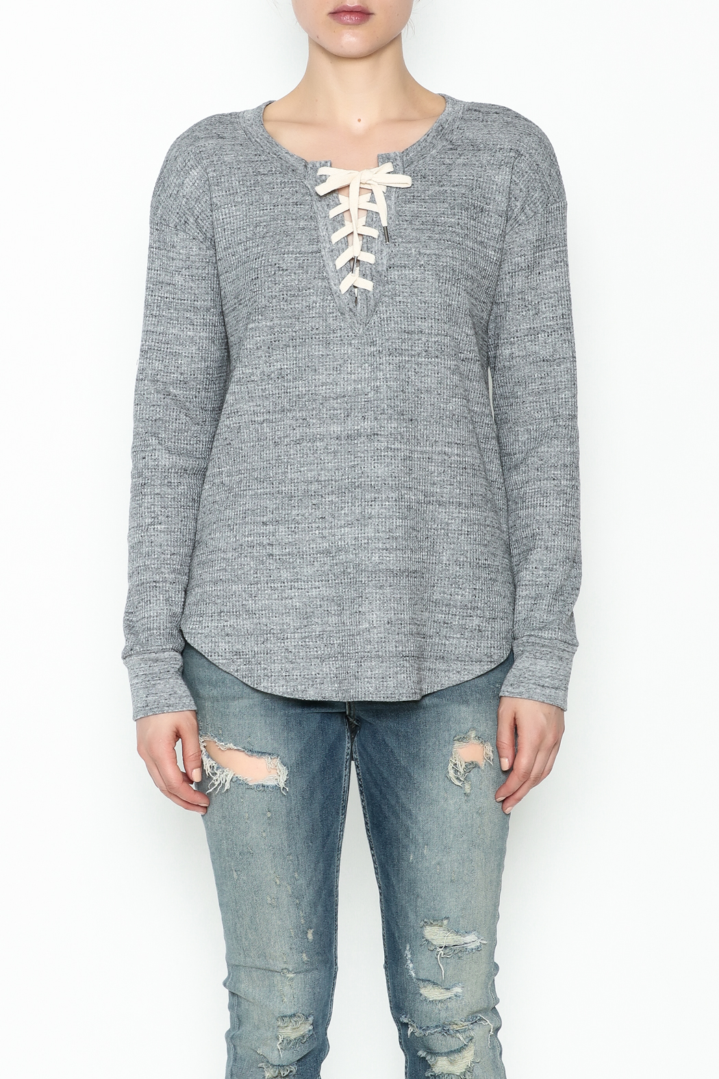 Splendid Thermal Lace Up Top - Front Full Image