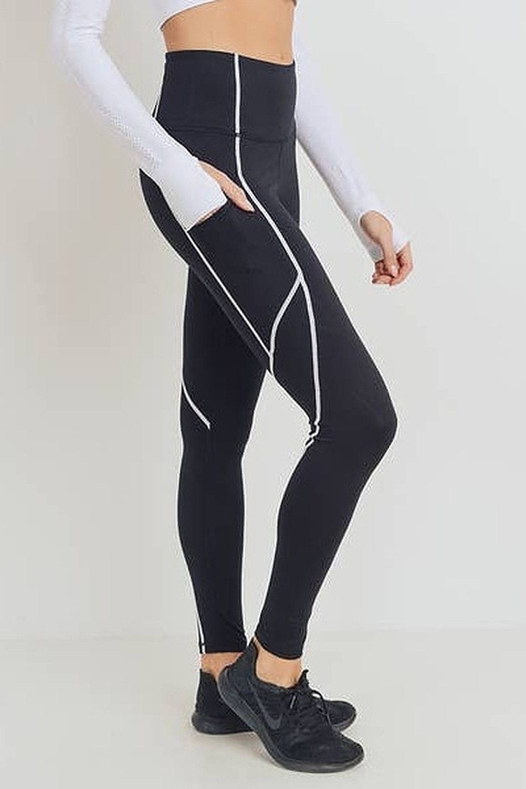 Mono B Splice Highwaist Leggings with Contrast Seams - Main Image