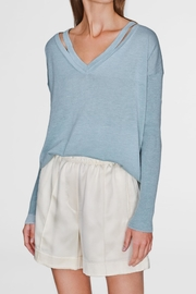 White + Warren Split V-Neck - Front cropped