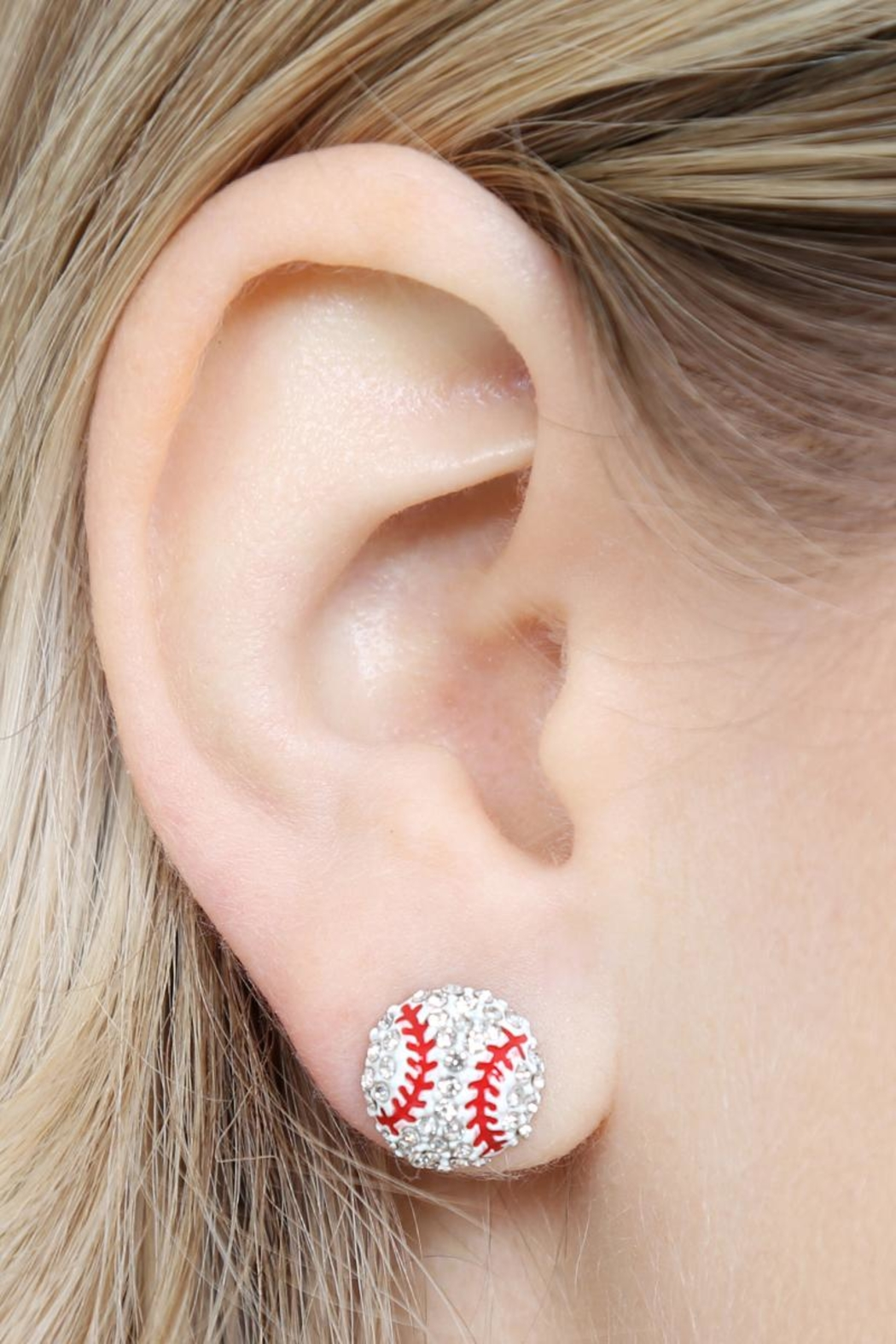 Riah Fashion Sports-Ball Stud Earrings - Back Cropped Image