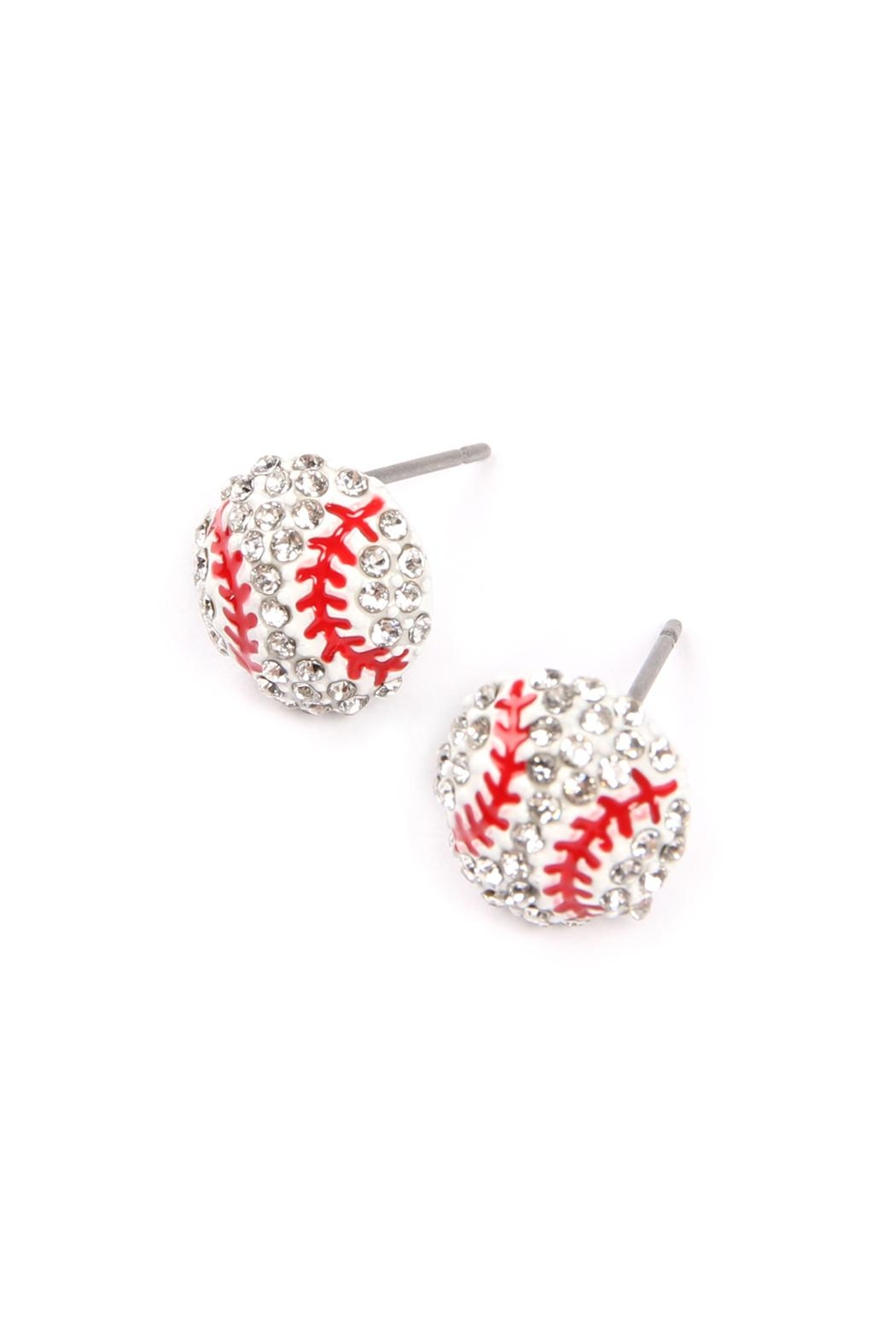 Riah Fashion Sports-Ball Stud Earrings - Front Full Image