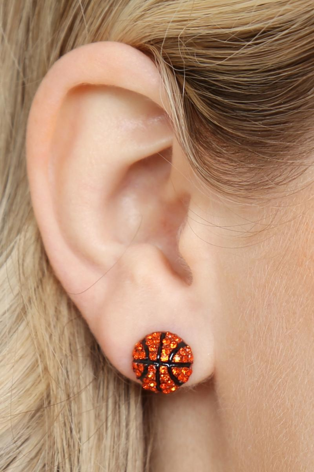 Riah Fashion Sports-Ball Stud Earrings - Side Cropped Image