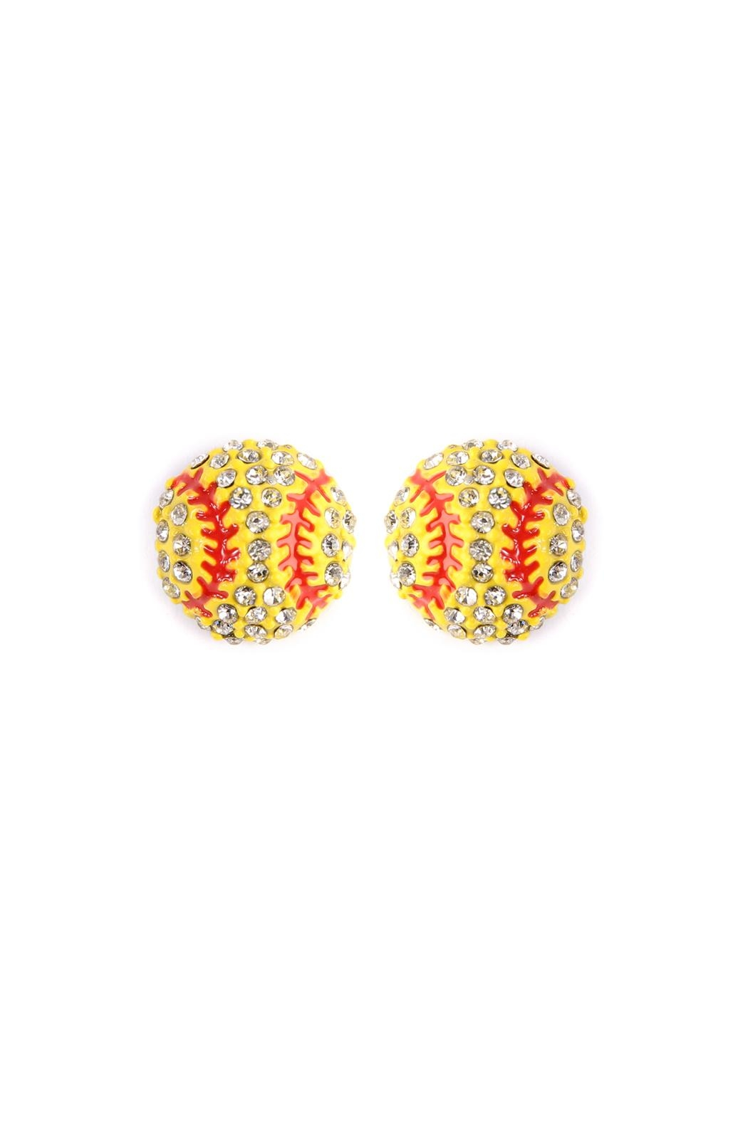 Riah Fashion Sports-Ball Stud Earrings - Front Cropped Image