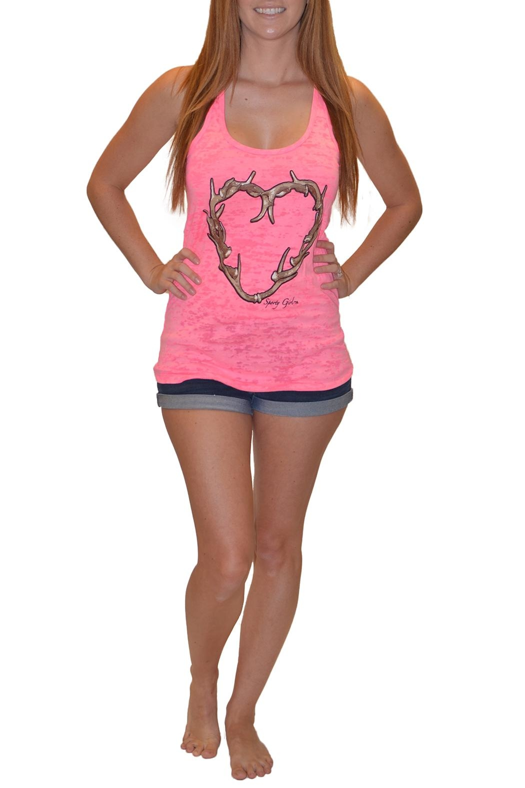 Sporty Girl Apparel  Antler Heart Tank - Front Cropped Image