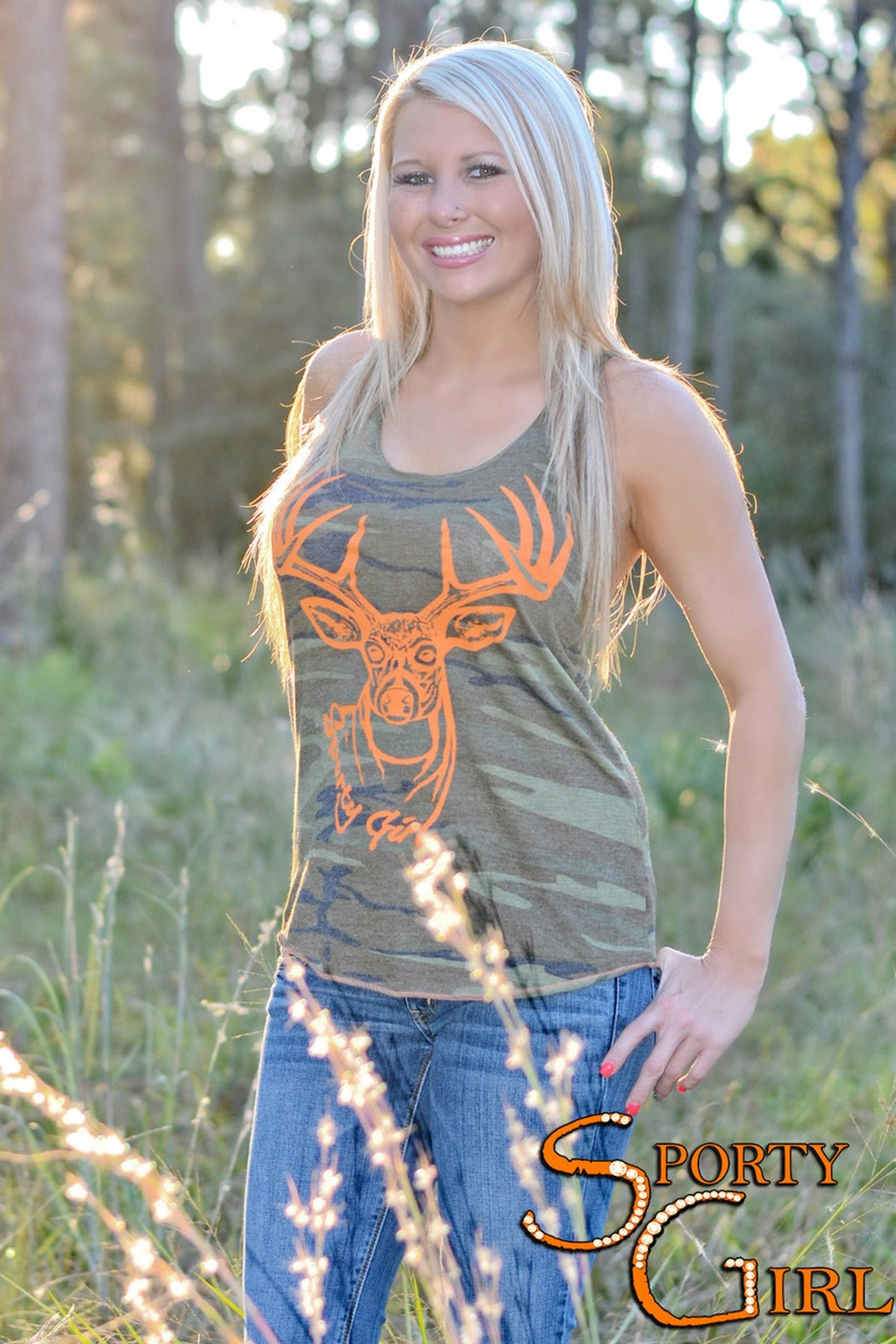 Sporty Girl Apparel  Army Camo Tank - Side Cropped Image