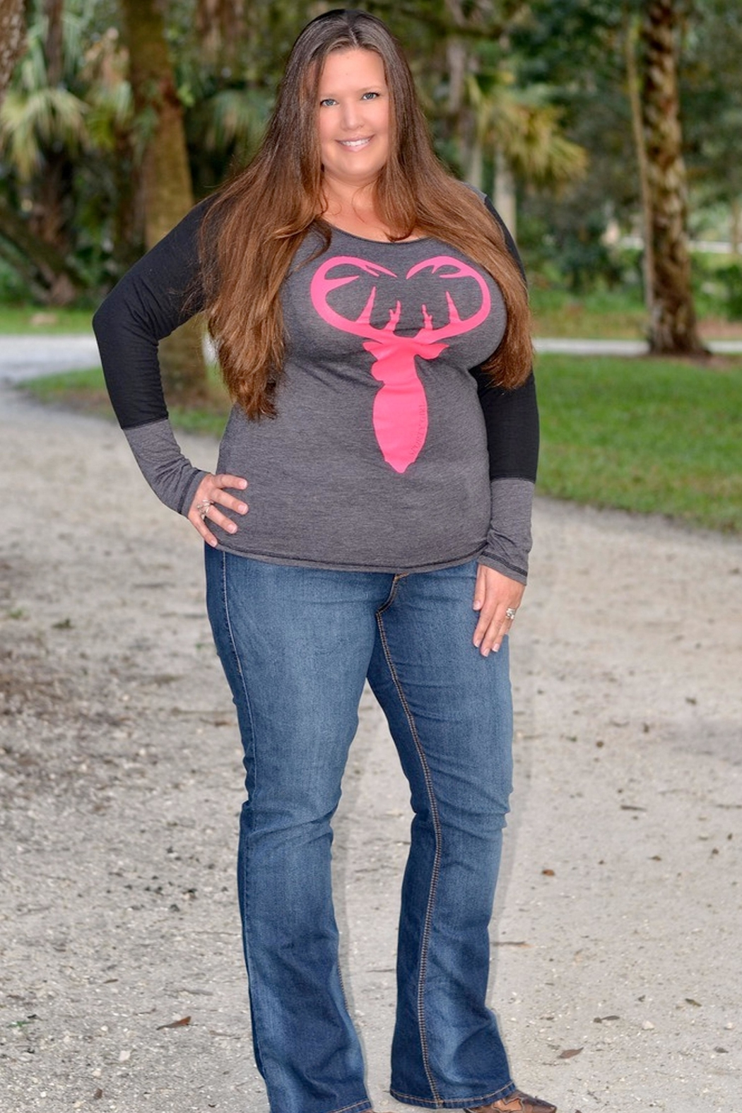 Sporty Girl Apparel  Buck Heart Gray - Front Full Image