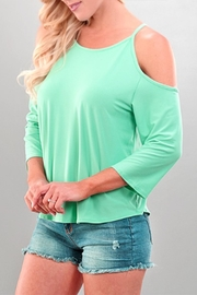 Sporty Girl Apparel  Coldshoulder Teal Top - Product Mini Image