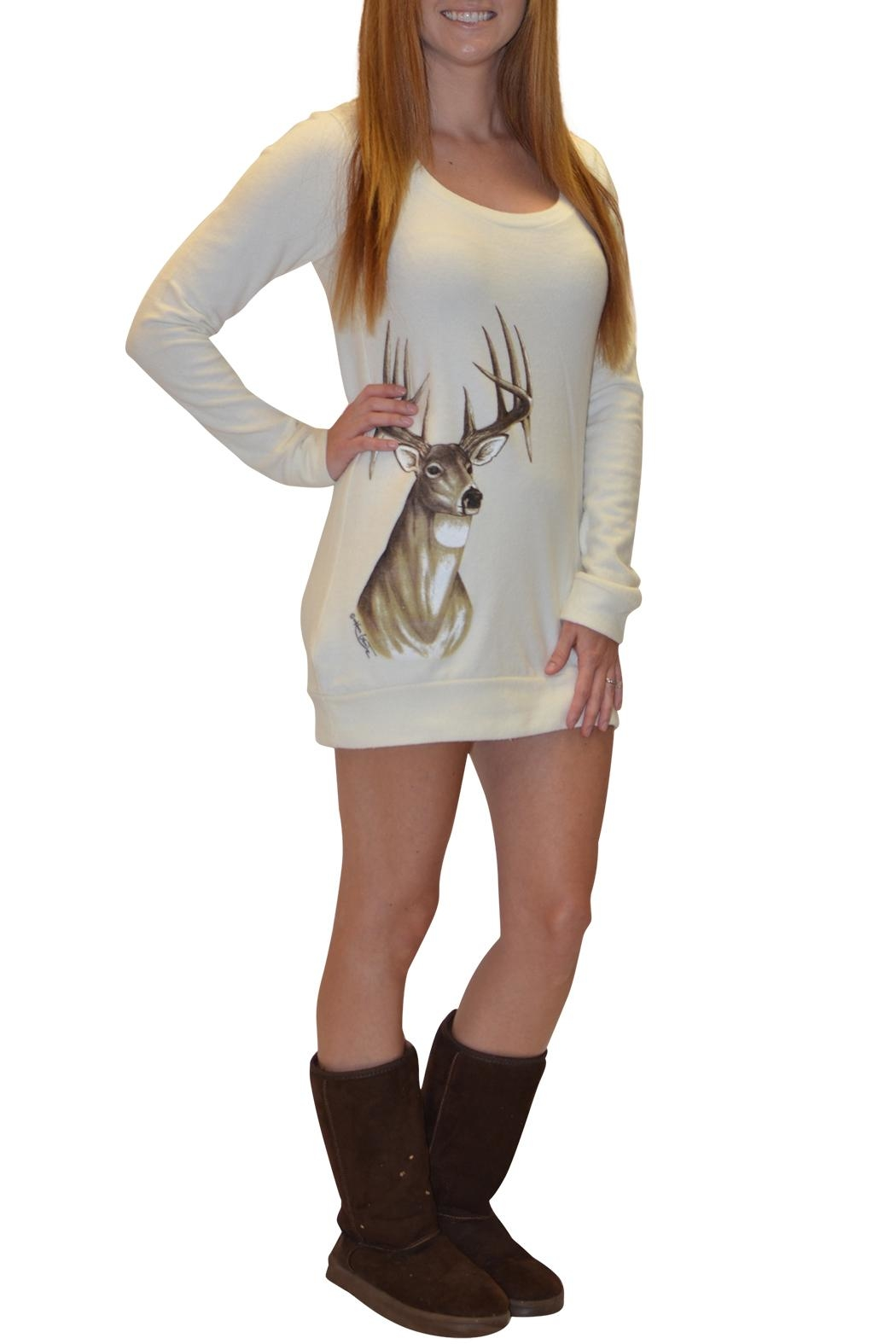 Sporty Girl Apparel  Deer Sweater Dress - Front Full Image