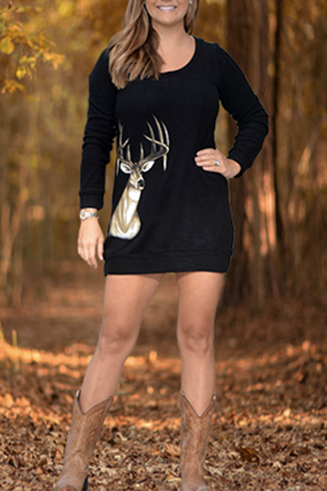 Sporty Girl Apparel  Deer Sweater Dress - Front Cropped Image