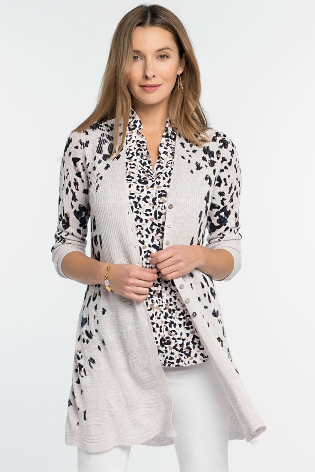 Nic + Zoe Spot On Cardigan, Pink Multi - Front Cropped Image