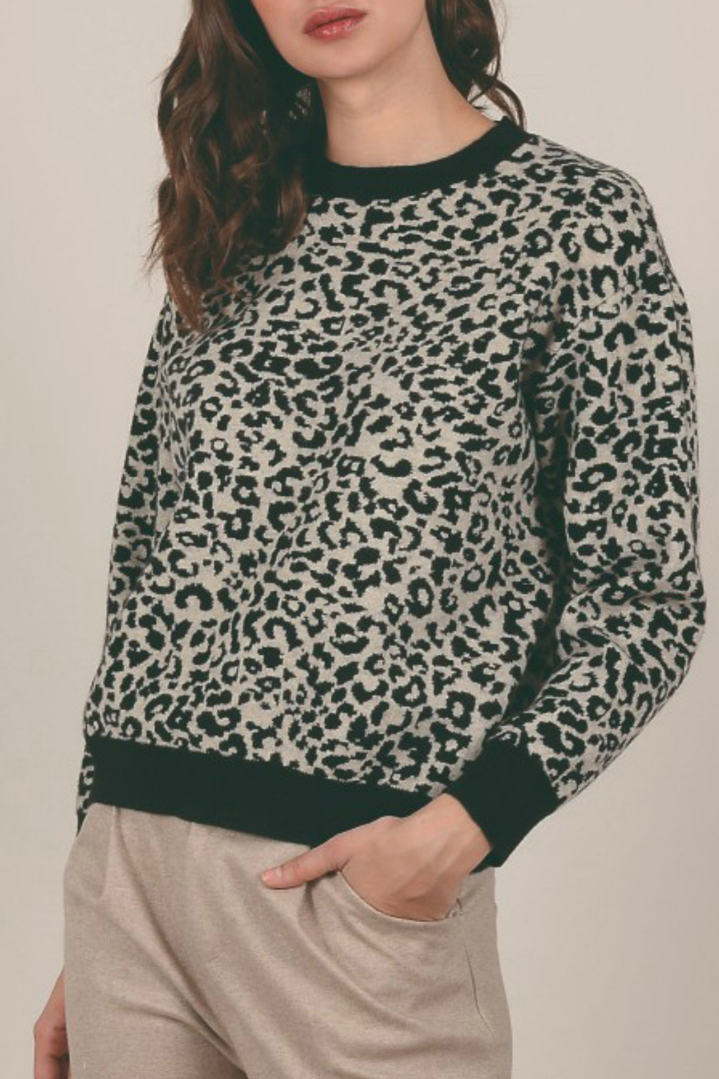 Molly Bracken Spotted Animal Print Sweater - Main Image