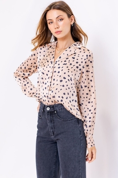 Le Lis Spotted Satin Button Up - Product List Image