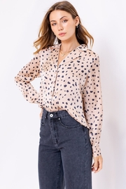 Le Lis Spotted Satin Button Up - Front full body