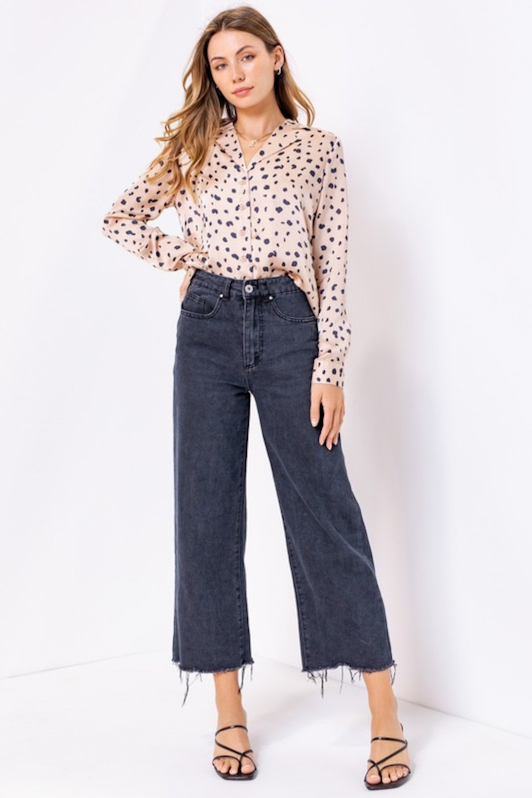 Le Lis Spotted Satin Button Up - Front Cropped Image