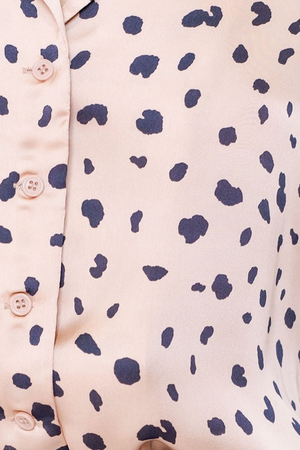 Le Lis Spotted Satin Button Up - Back Cropped Image