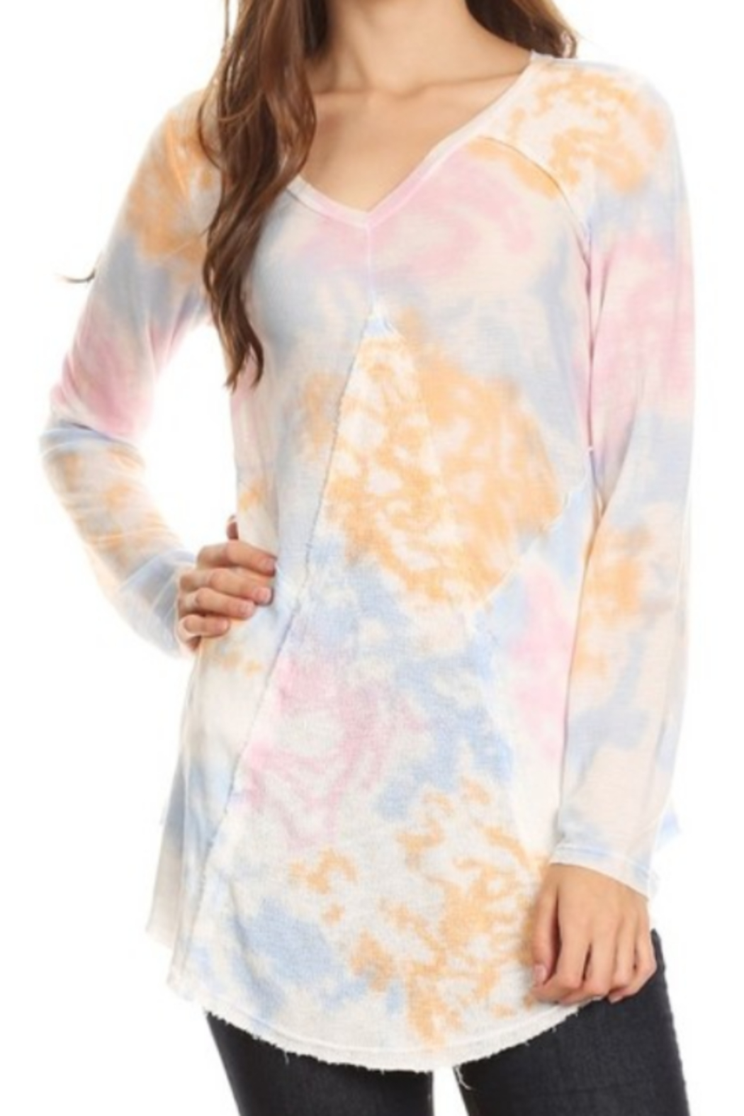 T Party Spring Colored Tie Dyed V-Neck Top - Main Image