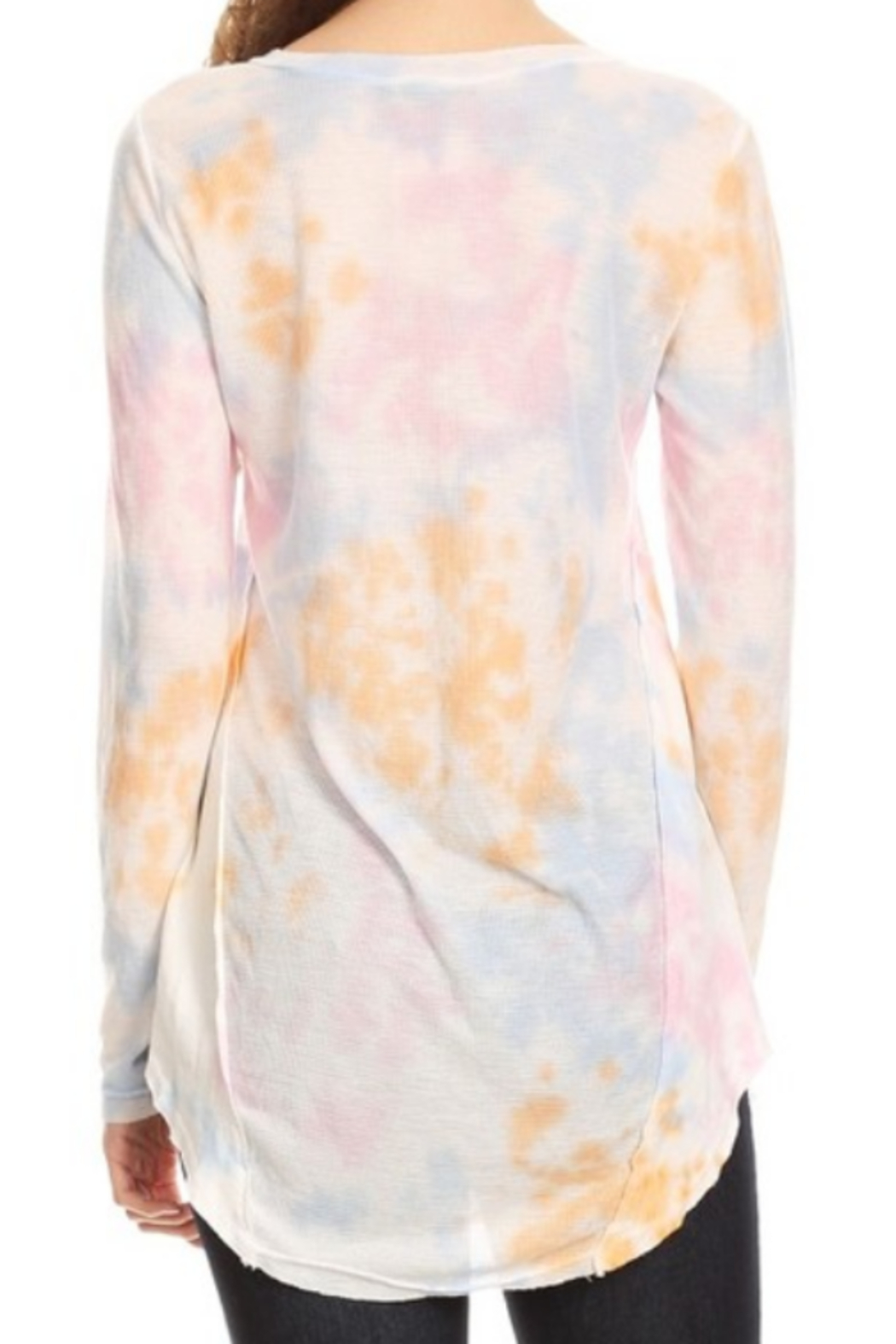 T Party Spring Colored Tie Dyed V-Neck Top - Front Full Image