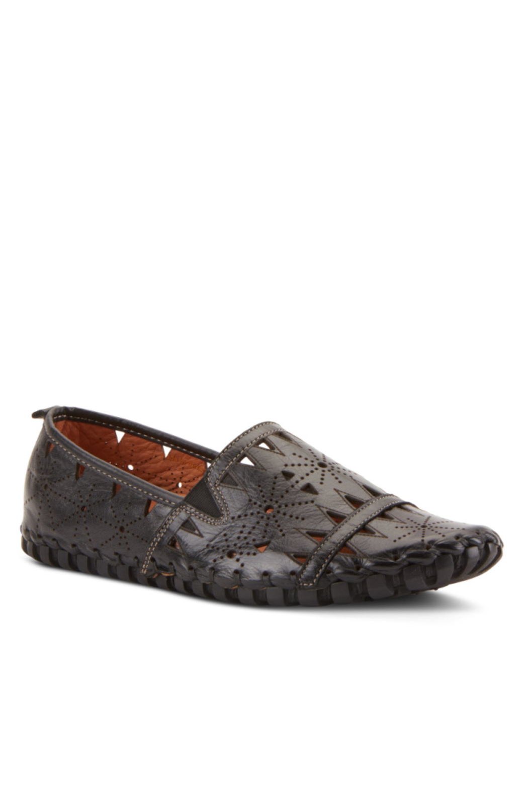 Spring Step  Leather Perforated Slip-On Shoes- Fusaro - Front Cropped Image