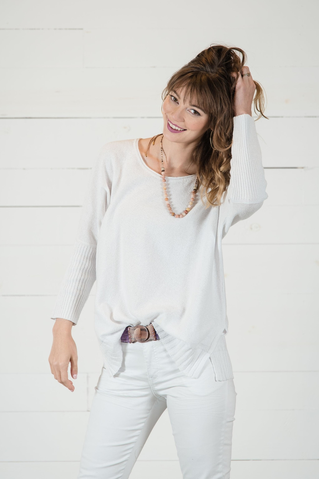 Go Fish Clothing Spring White Sweater - Front Full Image