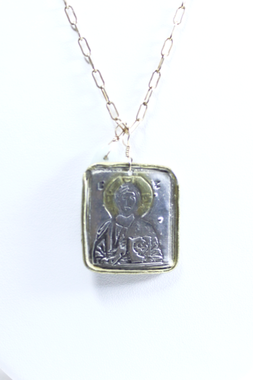 The Birds Nest SQUARE CHRIST PANTOCRATOR NECKLACE - 15.5 INCH CHAIN - Front Full Image