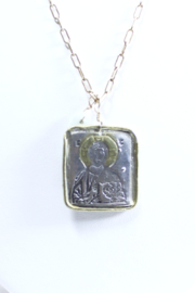 The Birds Nest SQUARE CHRIST PANTOCRATOR NECKLACE - 15.5 INCH CHAIN - Front full body