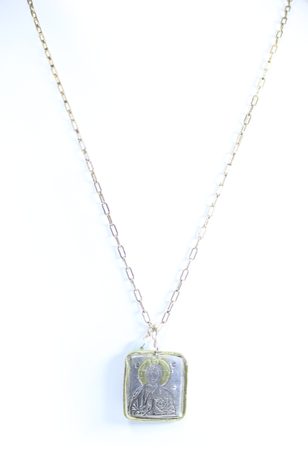 The Birds Nest SQUARE CHRIST PANTOCRATOR NECKLACE - 15.5 INCH CHAIN - Main Image