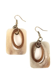 Anju Handcrafted Artisan Jewelry Square + Circle Links Earrings - Product Mini Image
