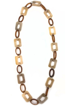 Anju Handcrafted Artisan Jewelry Square + Circle Links Necklace - Product List Image