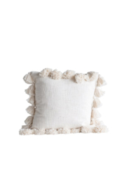 Creative Co-Op Square Cotton Pillow with Tassels - Product Mini Image