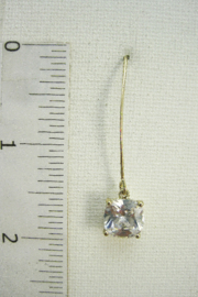 It's Sense Square Cubic Wire Hook Gold Earring - Side cropped