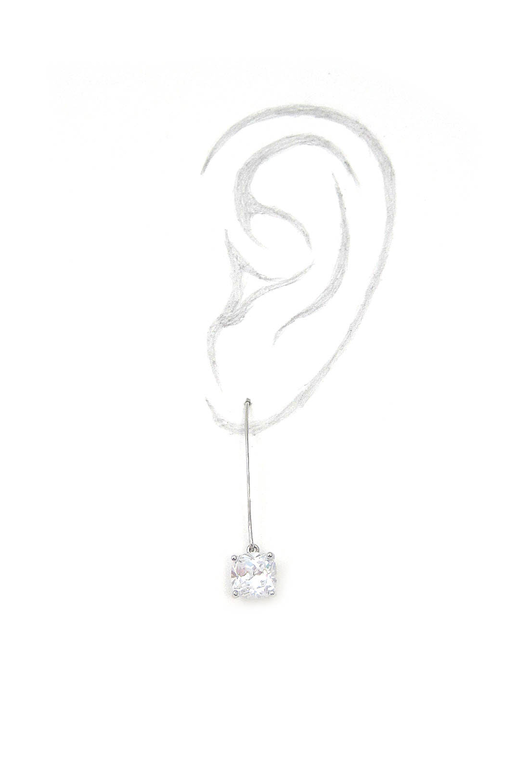 It's Sense Square Cubic Wire Hook Gold Earring - Front Full Image