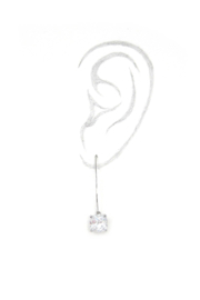 It's Sense Square Cubic Wire Hook Gold Earring - Front full body