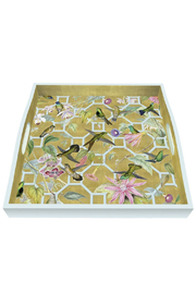 Caspari Hummingbird Trellis Lacquered Wood Tray - Product Mini Image