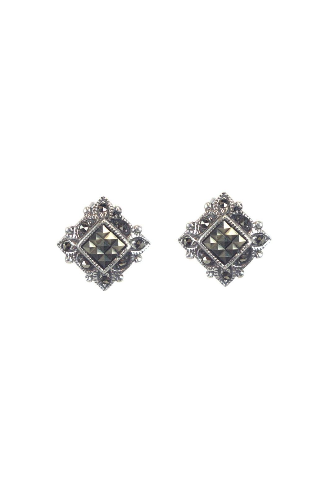 Diane S Accessories Square Marcasite Earrings Front Cropped Image