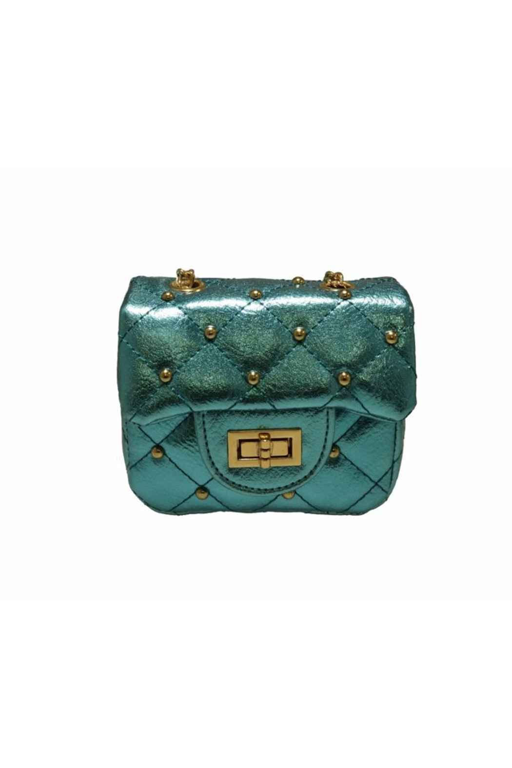 Doe a Dear Square Metallic Purse With Circle Studs - Main Image