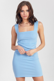 blue blush Square Neck Bodycon Dress - Front cropped