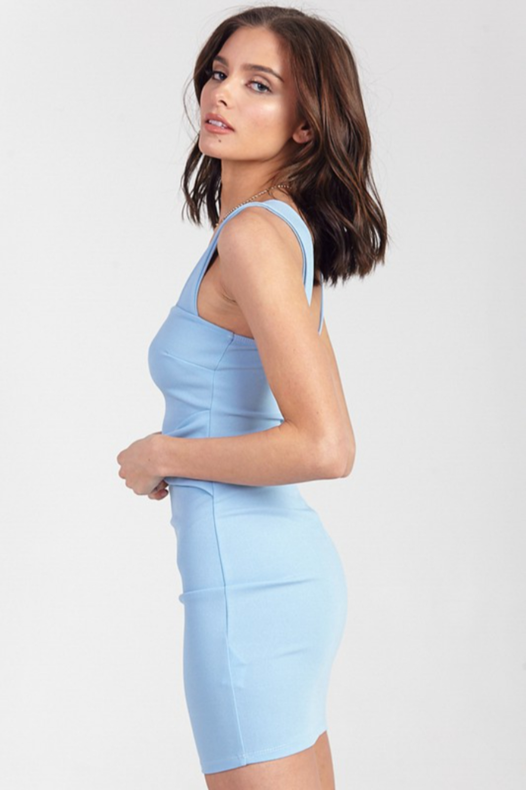 blue blush Square Neck Bodycon Dress - Side Cropped Image